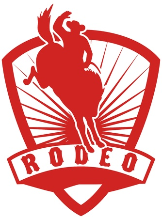 bucking horse: retro style illustration of an American  Rodeo Cowboy riding  a bucking bronco horse jumping with sunburst in  shield background and scroll with words rodeo