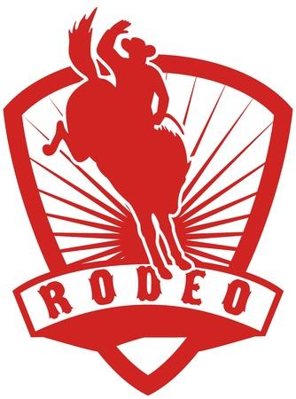 american rodeo: stile retr� illustrazione di un Cowboy Rodeo americano a cavallo bucking bronco saltando con raggera scudo sfondo e scorrimento con parole rodeo Archivio Fotografico