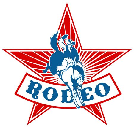 bucking horse: retro style illustration of an American  Rodeo Cowboy riding  a bucking bronco horse jumping with star and sunburst in background and scroll with words rodeo Stock Photo