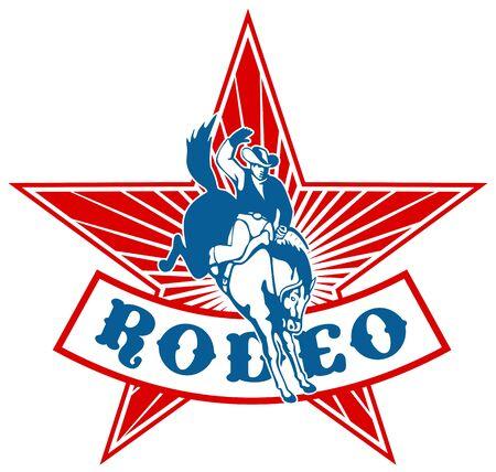american rodeo: stile retr� illustrazione di un Cowboy Rodeo americano a cavallo bucking bronco saltando con stella e raggera in background e scorrimento con le parole rodeo Archivio Fotografico