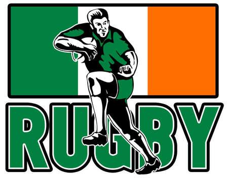 fend: illustratino di giocatore di rugby in esecuzione contro con bandiera Irlanda in background