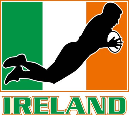 illustration of a silhouette Irish rugby playing diving to score a try with Ireland flag in background illustration