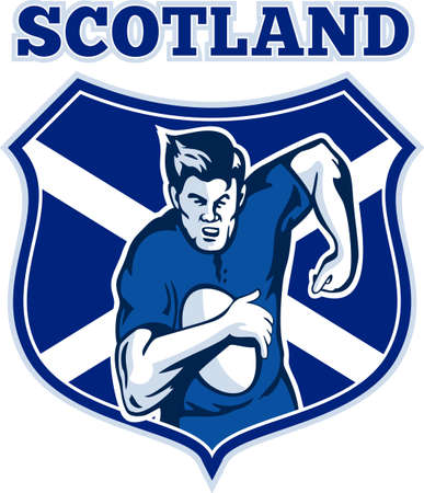illustration of a Scottish rugby player running with the ball facing front view with Scotland flag shield in background  illustration