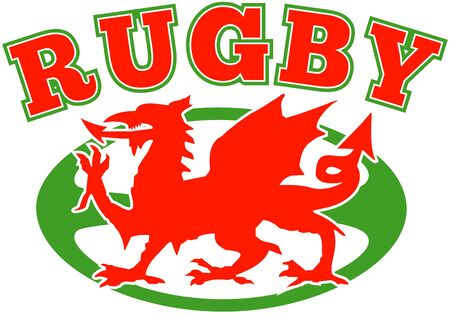 welsh flag: illustrazione di un rosso gallese Galles drago con pallone di rugby in background