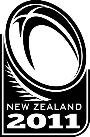 silver fern: illustration of a rugby ball and fern with words new zealand 2011