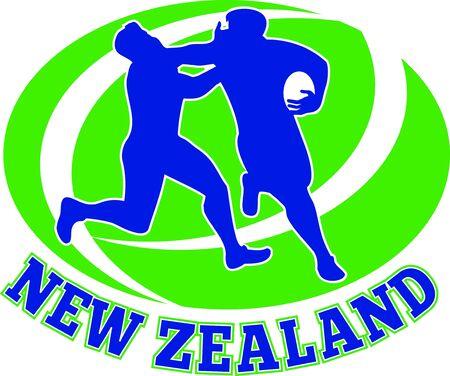 fend: illustrazione di un giocatore di rugby in esecuzione recentemente spento affrontare a forma di palla in background e le parole Nuova Zelanda