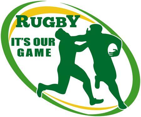 fend: illustrazione di un giocatore di rugby in esecuzione recentemente spento affrontare a forma di palla in background e le parole di rugby � il nostro gioco  Archivio Fotografico