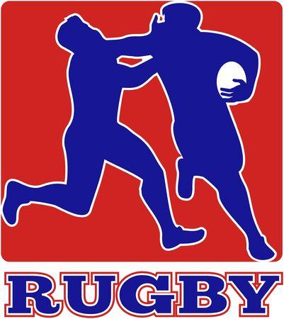 fend: illustrazione di un giocatore di rugby in esecuzione recentemente spento affrontare con forma quadrata in background  Archivio Fotografico