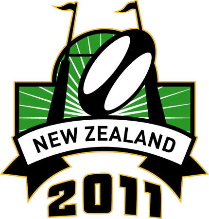 retro style illustration of a rugby ball and goal post inside rectangle with words new zealand 2011 illustration
