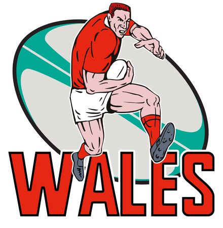 illustration of a Cartoon Welsh Rugby player running fending off  with ball in background and words Wales illustration