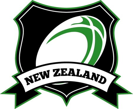 illustration of a rugby ball set inside shield with words new zealand illustration