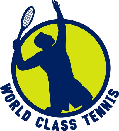 world class: illustration of a tennis player silhouette serving set inside circle with words  world class tennis  Stock Photo