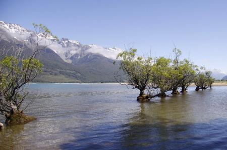 wakatipu: image of lake wakatipu in glenorchy new zealand with the southern alps in background