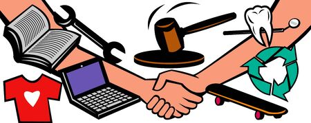 barter: illustration showing two hands in handshake closing a deal at auction with gavel hammer going down and different goods and services like dental, repair, books, laptop computer, recycling services isolated on white background.