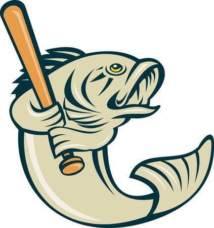 largemouth bass: Ilustraci�n de dibujos animados de un pez de bass Micropterus jugando b�isbol bateo aislado en blanco Foto de archivo