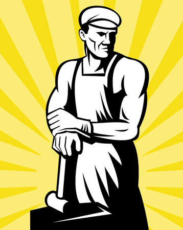 illustration of a Blacksmith posing with a hammer with sunburst in background done in retro woodcut style. Stock Illustration - 8411251