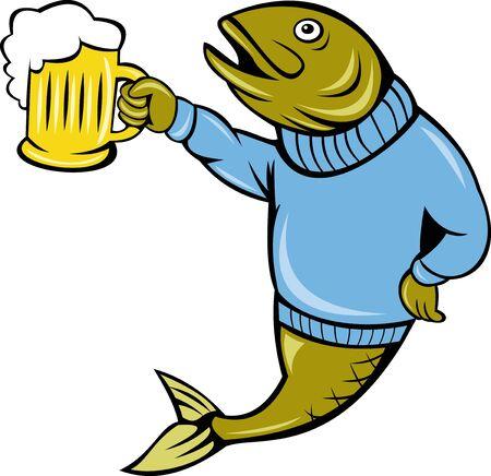 sueter: Ilustraci�n de una caricatura de trucha peces su�ter vistiendo sosteniendo una jarra de cerveza aislado en blanco
