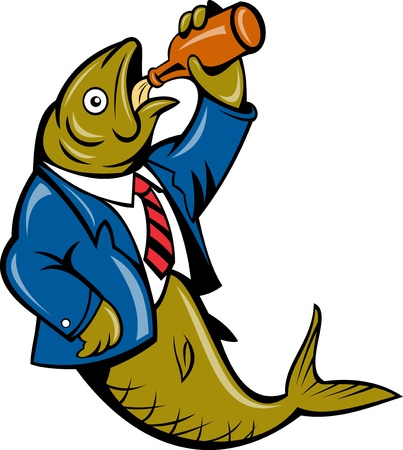 illustration of a cartoon Herring fish business suit drinking beer bottle isolated on white Stock Illustration - 8411266