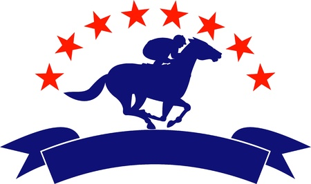 thoroughbred horse: illustration of a horse and jockey racing silhouette with scroll in front and stars in background isolated on white
