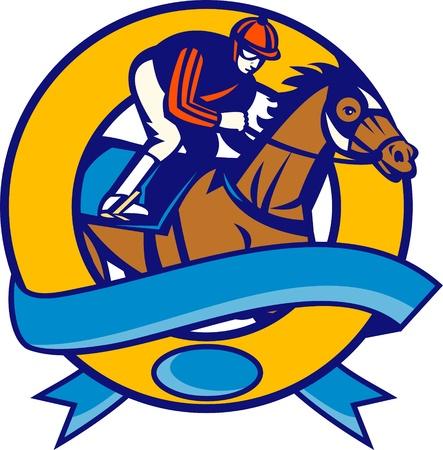 horse races: Ilustraci�n de un caballo y un conjunto de carreras de jockey dentro de c�rculo con desplazamiento frente estilo retro aislados sobre fondo blanco