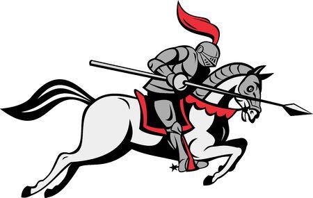 rycerz: Ilustracja Knighta z lance konna koń wyizolowanych biały