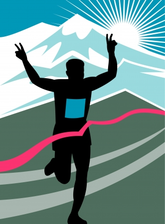finishing line: illustration of a silhouette of Marathon runner flashing victory hand sign done in retro style with mountains and sunburst and finish line ribbon tape Stock Photo