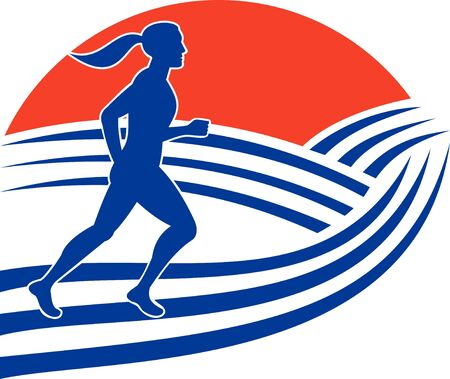 jogging track: illustration of female marathon runner running side view with mountains in background Stock Photo