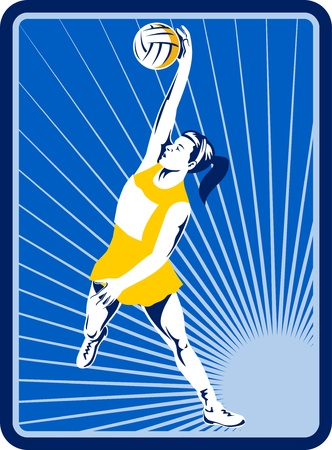 rebounding: illustration of a Netball player rebounding jumping for ball with sunburst in background