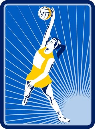 rebounding: illustration of a Netball player rebounding jumping for ball with sunburst in background