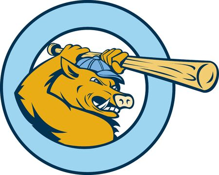 illustration of a Cartoon Razorback or wild pig swinging a  baseball bat enclosed in a circle Stock Illustration - 8411279