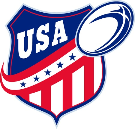 illustration of an American rugby ball shield with stars and stripes and words usa  illustration