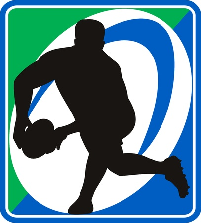league: illustration of a rugby player passing ball with ball in background