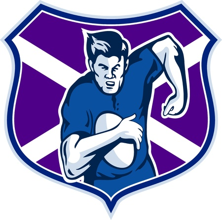 scot: illustration of a rugby player running with ball with flag and shield of scotland Stock Photo
