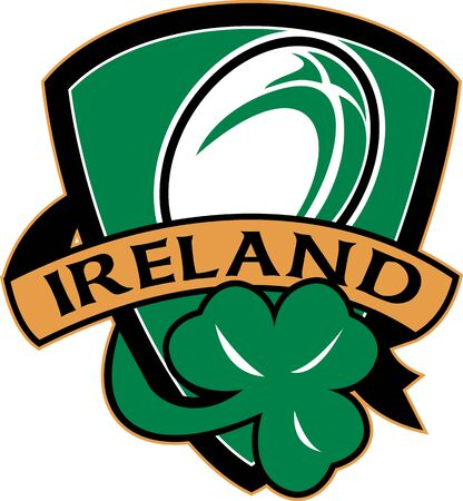 illustration of a shield with rugby ball and shamrock with words ireland illustration