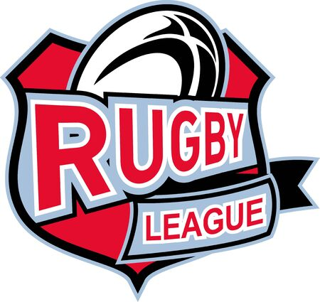 shiled: illustration of a rugby ball set insilde shiled with words rugby league