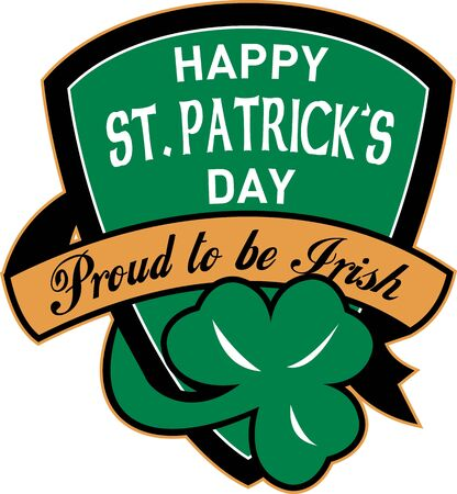 illustration of a shield with words happy st. patrick's day proud to be irish Stock Illustration - 8411288