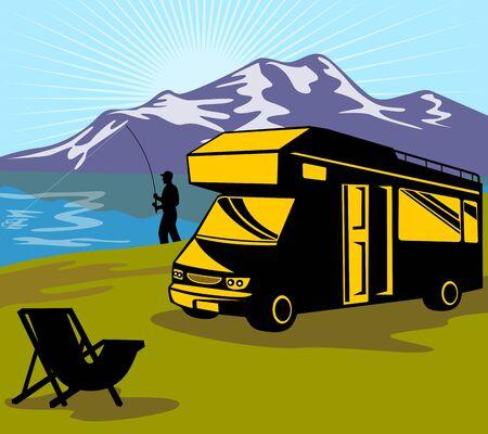 motorhome: illustrazione di un pescatore di volo a pesca con mosca canna e bobina con lago e montagne e raggera in background e van camper e sedia pieghevole in primo piano in stile retr�