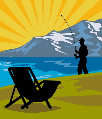 illustration of a Fly fisherman fishing with fly rod and reel with lake and mountains and sunburst in background and folding chair in the foreground done in retro style illustration