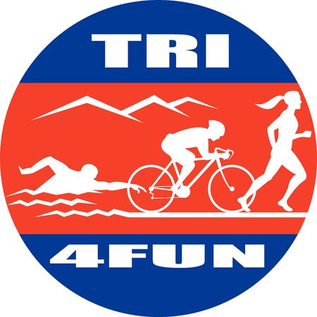 illustration showing the progression of triathlon showing an athlete swimming, biking or cycling and finishing of with  a run. Imagens