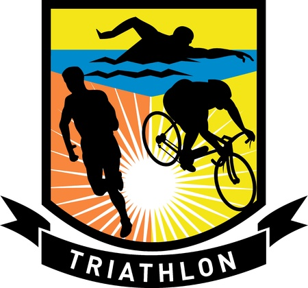 triathlete: illustration showing the sport of triathlon with triathlete athlete swimming, biking or cycling and running