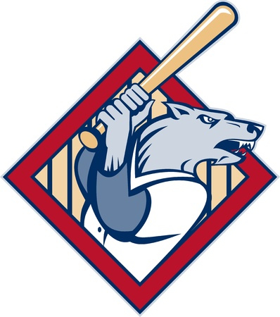 illustration of a cartoon Wild dog or wolf playing baseball batting with bat set inside a diamond illustration
