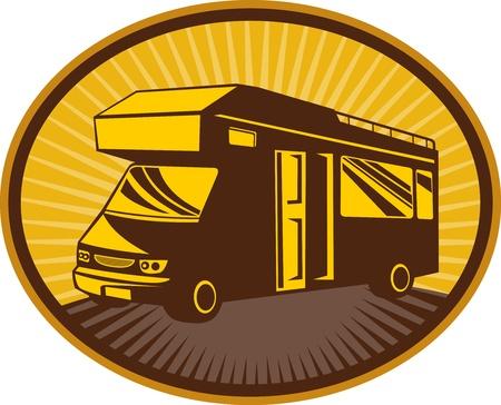 motorhome: retro style illustration of a Camper van,caravan or mobile home with sunburst in background set inside an ellipse  Stock Photo