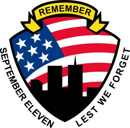 world trade center: illustration of a shield with american flag stars and stripes and 9-11 World Trade Center building silhouette with words September eleven lest we forget Stock Photo