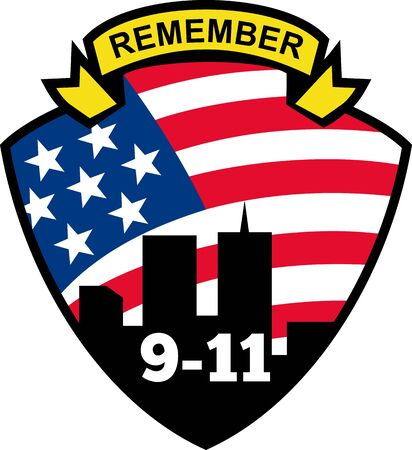 world trade center: illustration of a shield with american flag stars and stripes and 9-11 World Trade Center building silhouette with words Remember 9-11 Stock Photo