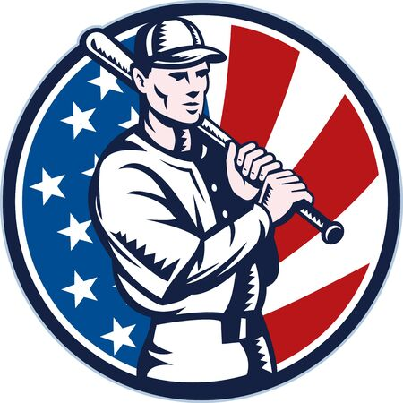baseball cap: illustration of a Baseball player holding bat with american stars and stripes flag in background set inside circle done in retro woodcut style.