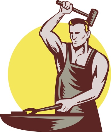 anvil: retro style illustration of a male worker or blacksmith striking hammer and anvil with sunburst