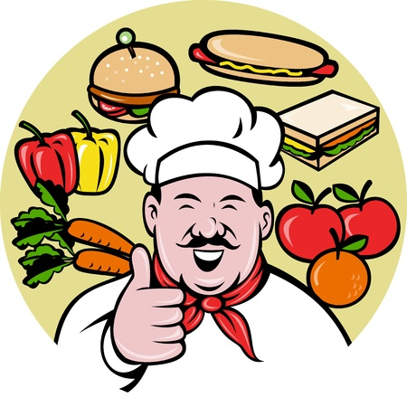 illustration of a Cartoon Chef cook baker with mustache  thumbs up facing front view with fruit vegetable food sandwich apple orange capsicum carrots hotdog hamburger in background illustration