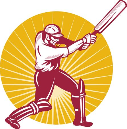 batsman: illustration of a cricket batsman batting side view done in retor woodcut style