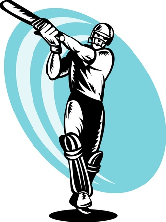 illustration of a cricket batsman batting front view done in retor woodcut style Stock Photo