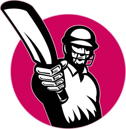 cricket bat: illustration of a cricket player batsman pointing his bat at you set in circle isolated on white